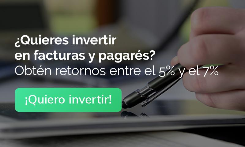 ¿Quieres invertir en facturas y pagarés? Obtén retornos entre el 5% y el 7%. ¡Quiero invertir!